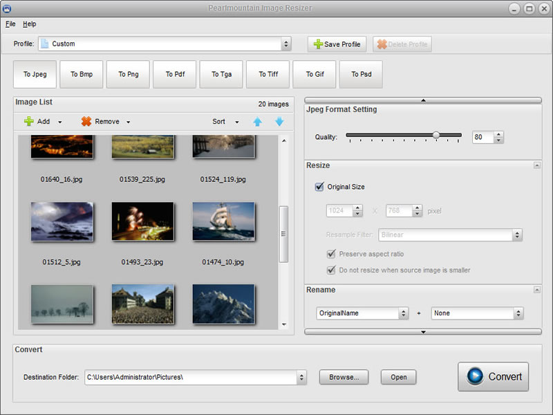 Windows 7 PearlMountain Image Resizer Free 1.1.4 full
