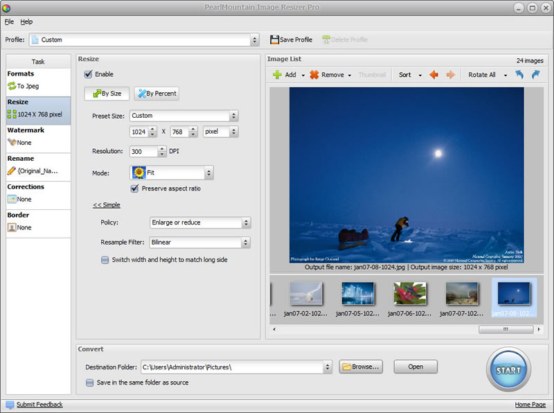 Click to view PearlMountain Image Resizer Pro screenshots